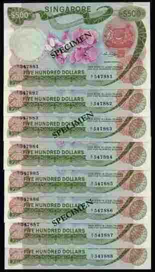 Singapore 8x$500 1972