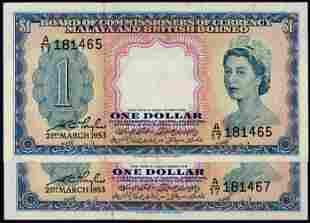 Malaya Br Borneo 2x$1 1953 QEII