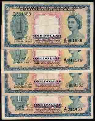 Malaya Br Borneo 4x$1 1953 QEII
