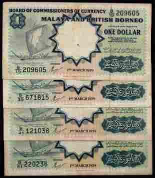 Malaya Br Borneo 4x$1 1959 sailing boat