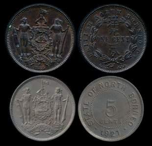 British North Borneo 1c 1885H 5c 1921H