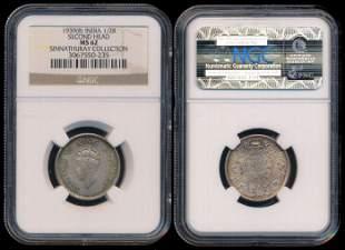 India British India KGVI 1/2 Rupee 1939 NGC