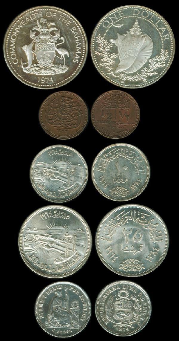 5: 5 Bahamas Egypt Peru coins