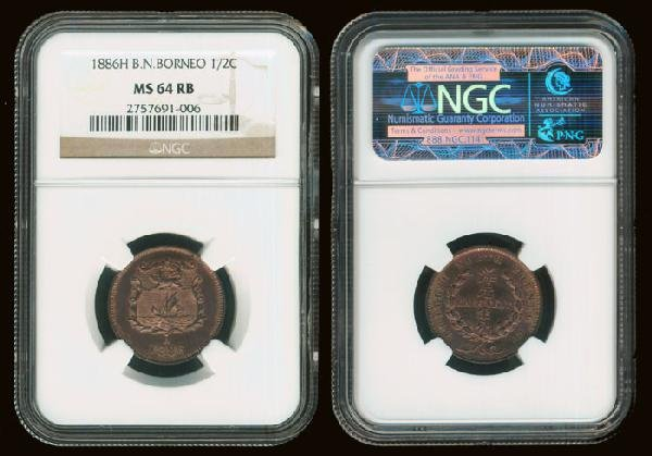 7: Br North Borneo 1/2c 1886H NGC MS64RB