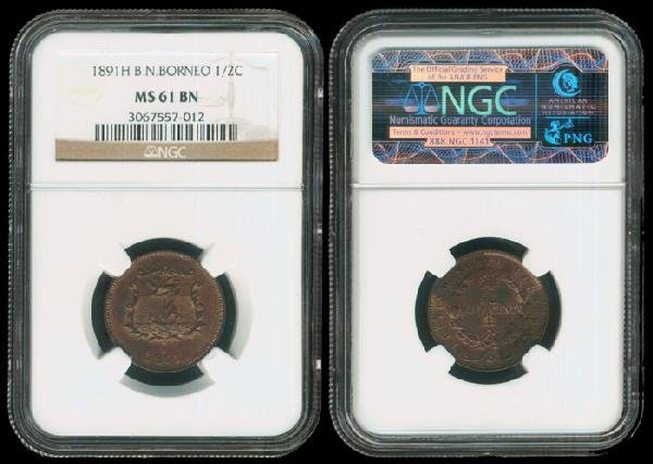 8: Br North Borneo 1/2c 1891H NGC MS61BN