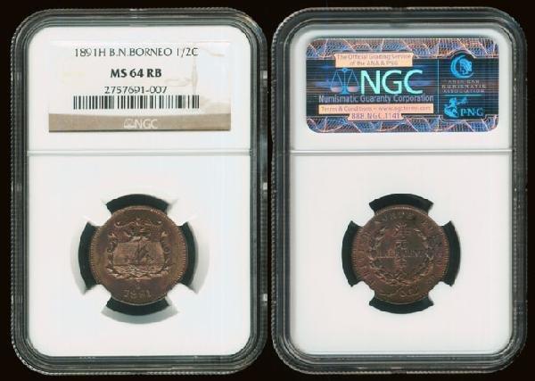 10: Br North Borneo 1/2c 1891H NGC MS64RB