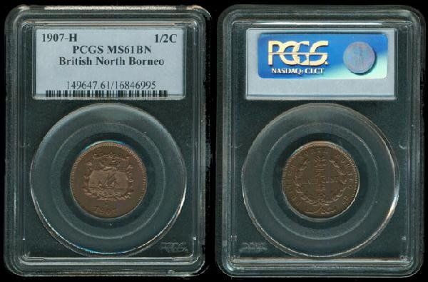 12: Br North Borneo 1/2c 1907H PCGS MS61BN