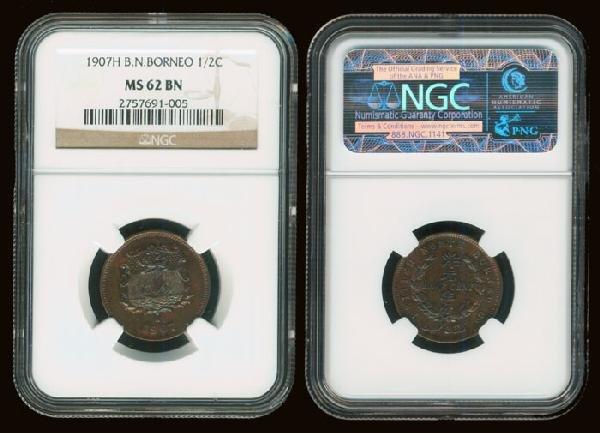 13: Br North Borneo 1/2c 1907H NGC MS62BN