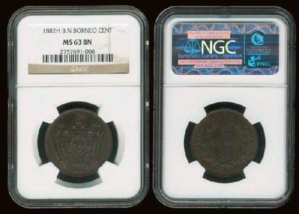 14: Br North Borneo 1c 1882H NGC MS63BN