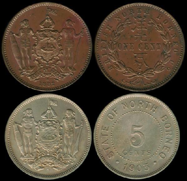 16: Br North Borneo 1c 1882H 5c 1903H EF-GEF