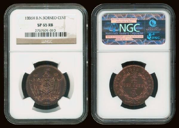 17: Br North Borneo 1c 1886H NGC SP65RB