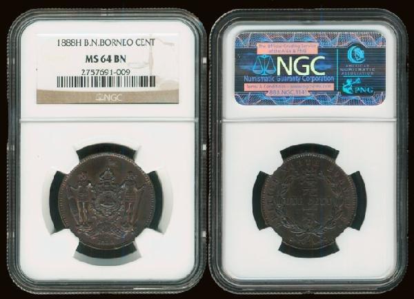 19: Br North Borneo 1c 1888H NGC MS64BN