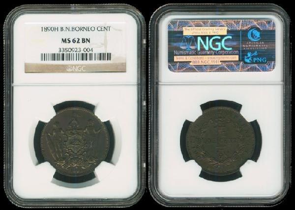 20: Br North Borneo 1c 1890H NGC MS62BN