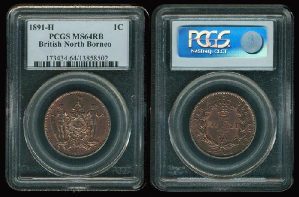 22: Br North Borneo 1c 1891H PCGS MS64RB