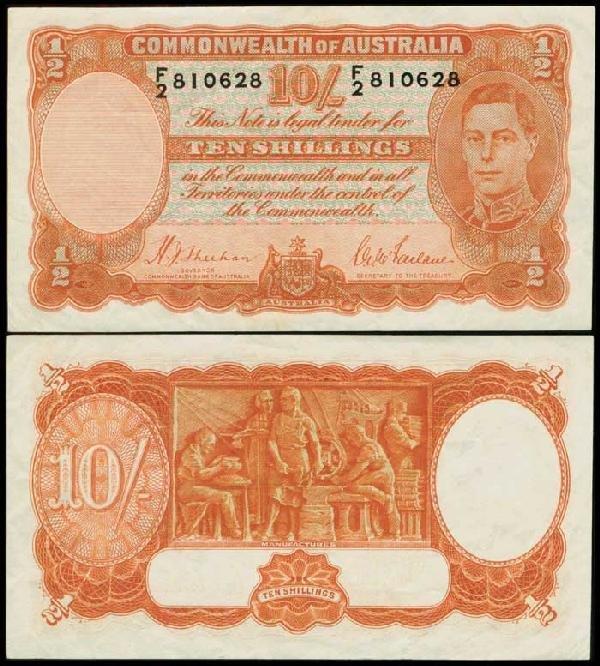 2: Australia 10S KGVI 1939 P25a GVF