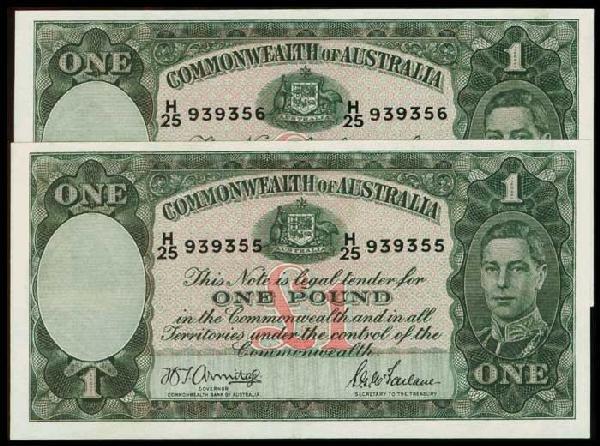 6: 2 Australia 1P KGVI 1942 P26b consecutive