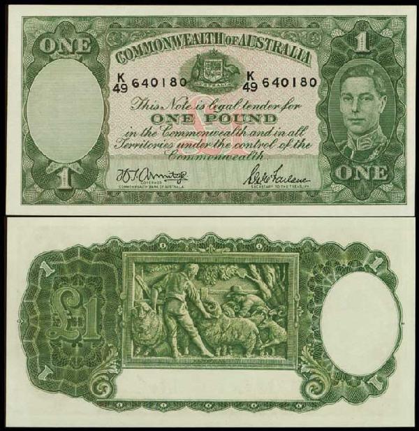 7: Australia 1P KGVI 1942 P26b UNC
