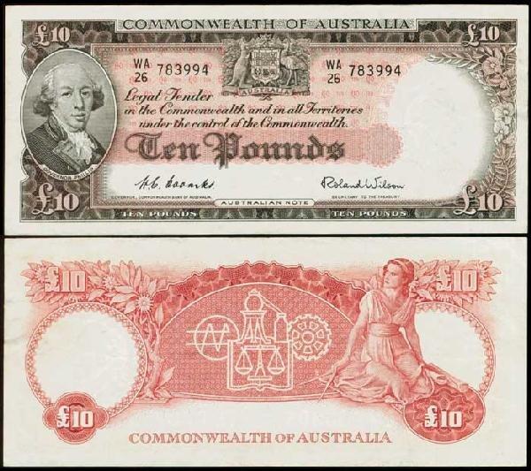 9: Australia 10P 1954-59 P32a VF