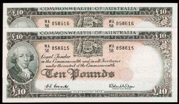 14: 2 Australia 10P 1960-65 P36a consecutive