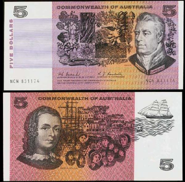 16: Australia $5 1967 P39b UNC