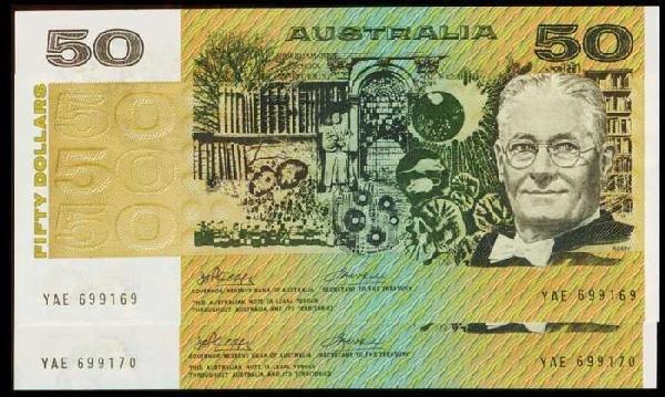 21: 2 Australia $50 1973 P47a consecutive
