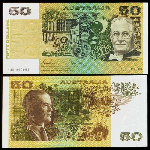 22: Australia $50 1983 P47d YJU 000008 AU-UNC