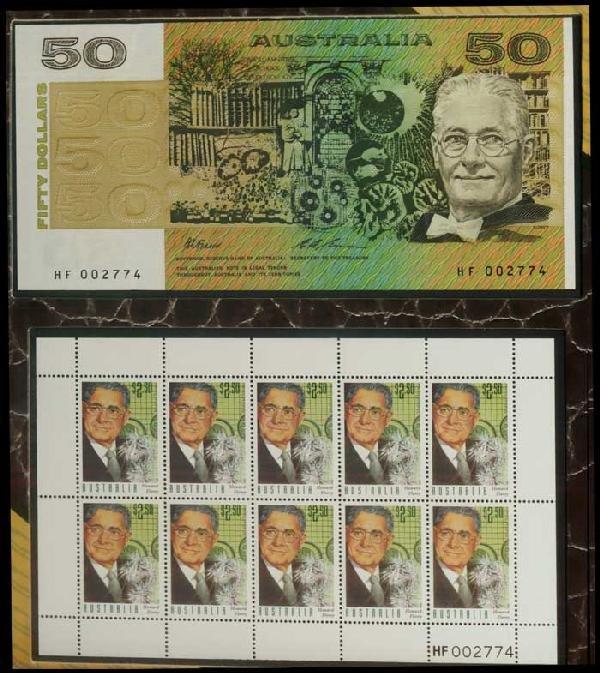 23: Australia $50 1994 P47i incl 10 stamps