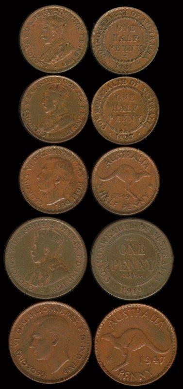 2: 44 Australia 1/2P 1P 1915-1955