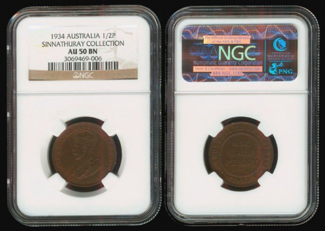 3: Australia KGV 1/2P 1934 NGC AU50BN