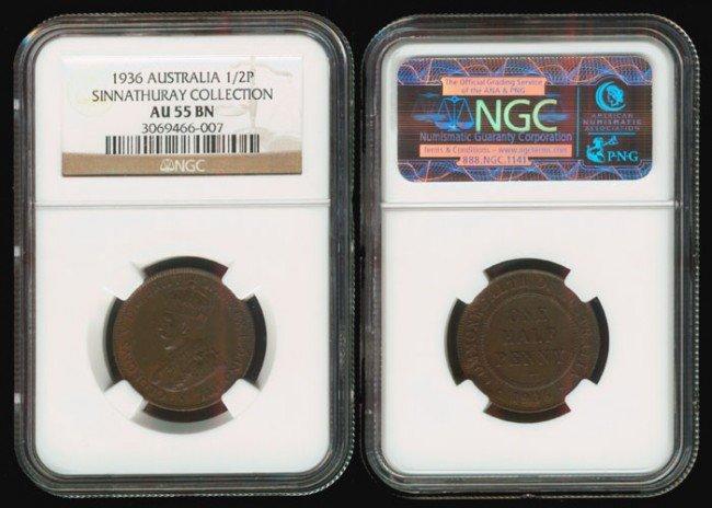 4: Australia KGV 1/2P 1936 NGC AU55BN