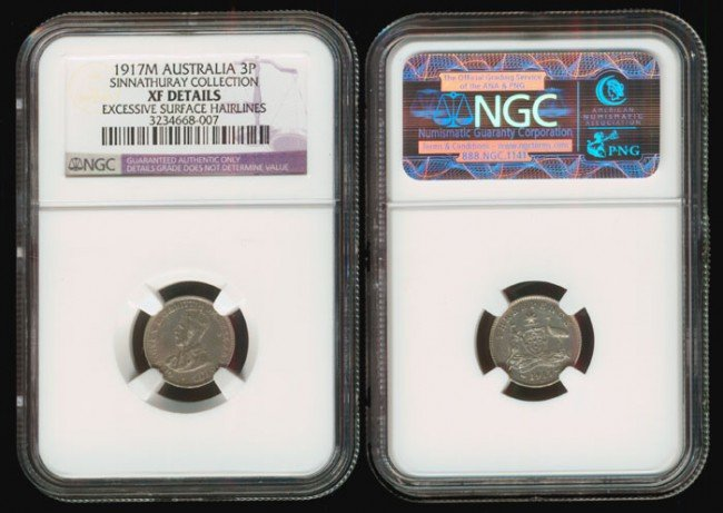 7: Australia KGV 3P 1917M NGC XF Details