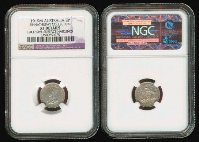 8: Australia KGV 3P 1919M NGC XF Details