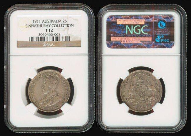 12: Australia KGV 2 Shillings 1911 NGC F12