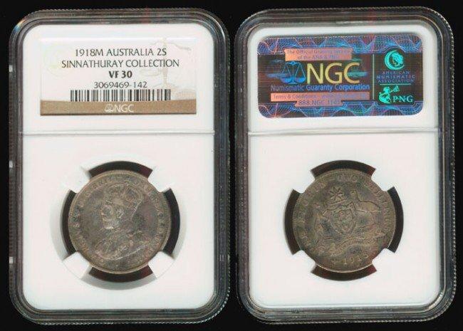 13: Australia KGV 2 Shillings 1918M NGC VF30
