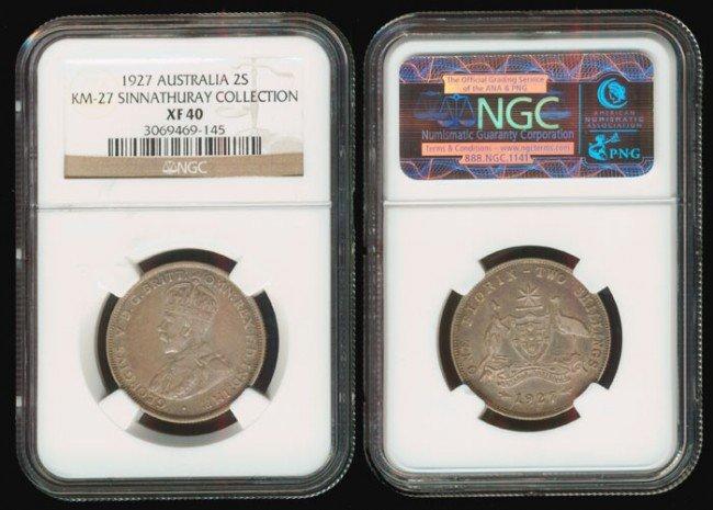 14: Australia KGV 2 Shillings 1927 NGC XF40