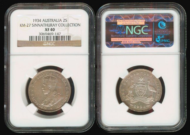 15: Australia KGV 2 Shillings 1934 NGC XF40