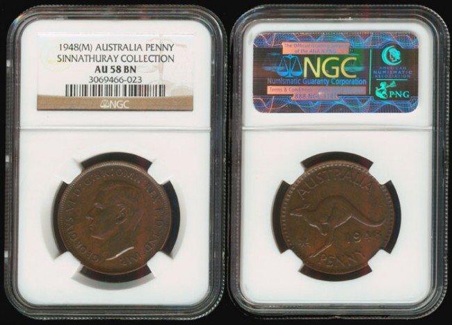 16: Australia KGVI Penny 1948M NGC AU58BN