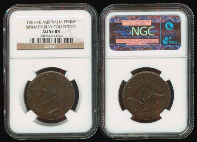 17: Australia KGVI Penny 1951M NGC AU55BN