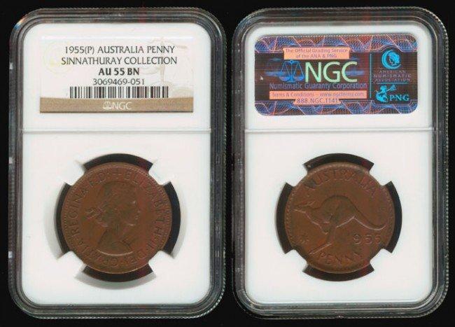 18: Australia QEII Penny 1955P NGC AU55BN