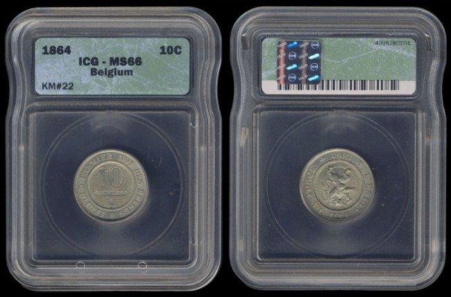 21: Belgium 10 Centimes 1864 ICG MS66