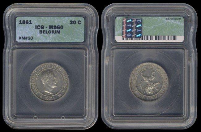 22: Belgium 20 Centimes 1861 ICG MS60