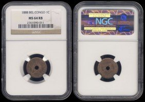 Congo Free State 1 Cent 1888 NGC MS64RB