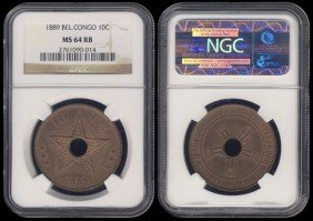 Congo Free State 10 Cents 1889 NGC MS64RB