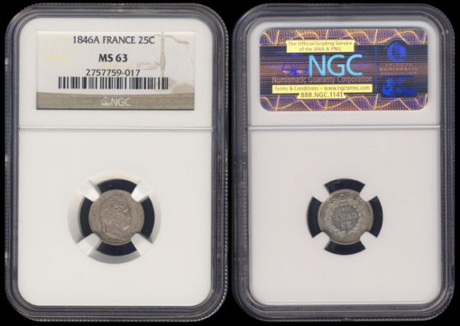 130: France 25 Centimes 1846A NGC MS63