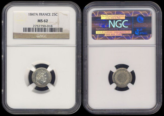 131: France 25 Centimes 1847A NGC MS62