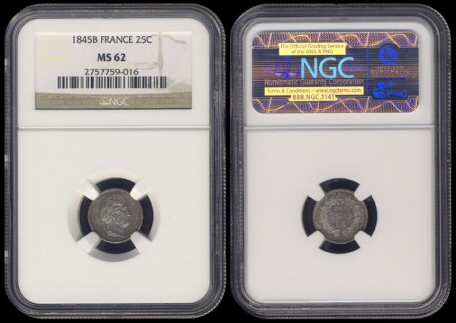 132: France 25 Centimes 1845B NGC MS62