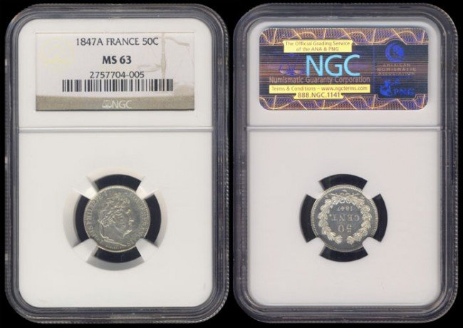 133: France 50 Centimes 1847A NGC MS63