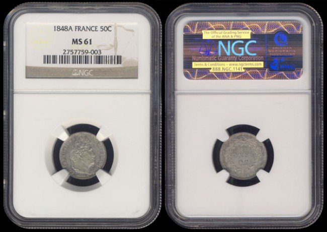 134: France 50 Centimes 1848A NGC MS61