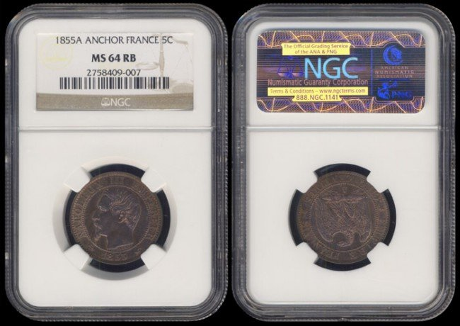 135: France 5 Centimes 1855A NGC MS64RB