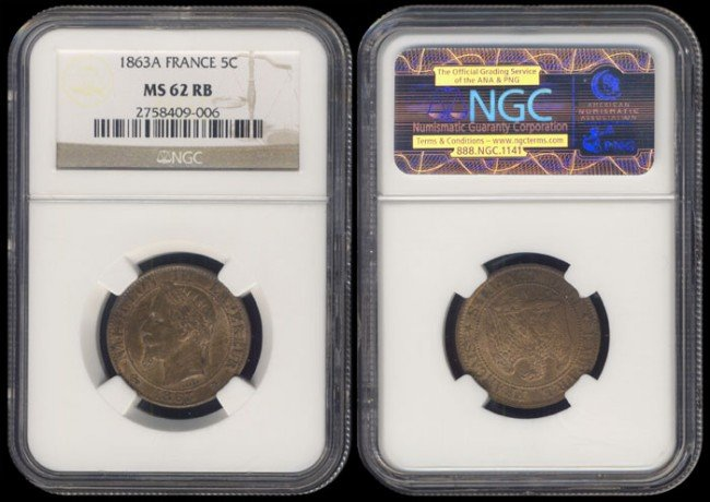136: France 5 Centimes 1863A NGC MS62RB